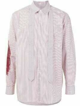 SONGZIO embroidered striped-print cotton shirt