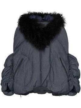 Angel Chen faux fur-collared jacket - Blue