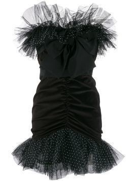 Brognano strapless ruffled tulle mini dress - Black