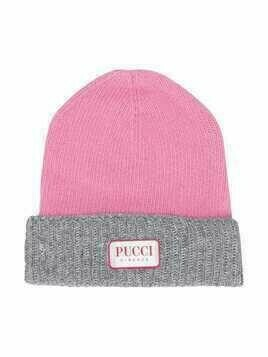 Emilio Pucci Junior two-tone knitted beanie - PINK