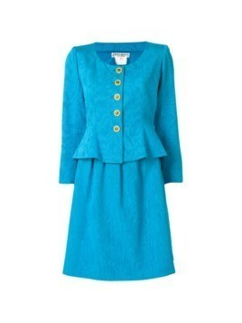 Yves Saint Laurent Vintage jacquard skirt suit - Blue