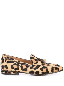 Francesco Russo leopard print loafers - Brown