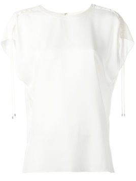 Theory drawstring sleeve detailing T-shirt - White
