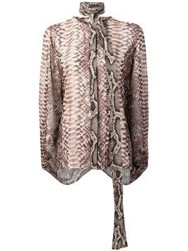 Elie Saab snakeskin effect blouse - Brown