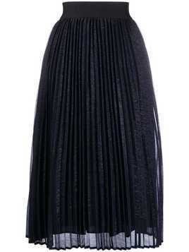 Edward Achour Paris pleated midi skirt - Blue