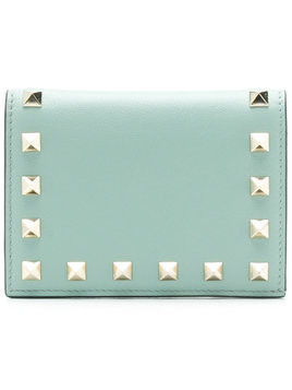 Valentino Rockstud French-flap wallet - Green