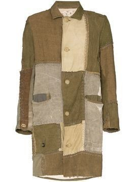 By Walid Cedric patchwork button-down coat - Green