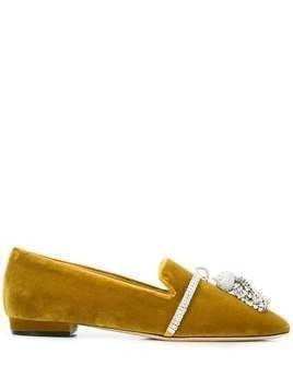 Giannico Louis crystal-embellished slipper - Yellow