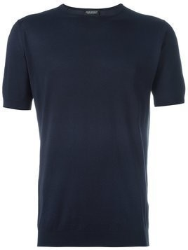 John Smedley fine knit short sleeve top - Blue