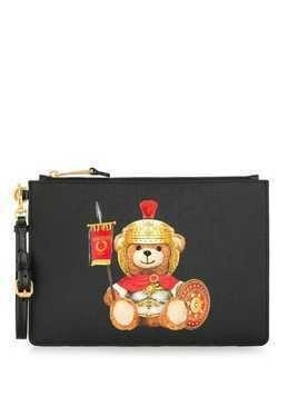 Moschino Teddy Bear logo clutch bag - Black