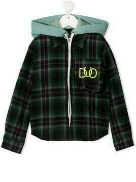 DUOltd checked shirt-hoodie with logo print - Green