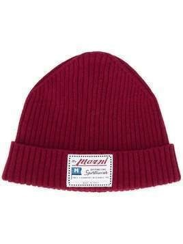Marni logo patch beanie - Red