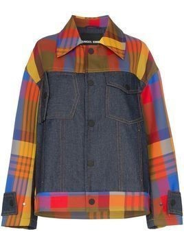 Angel Chen panelled checked jacket - Multicoloured