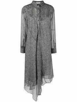 Brunello Cucinelli lightweight silk paisley dress - Grey