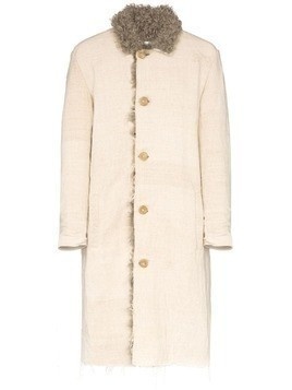 By Walid Nadim shearling single-breasted coat - NEUTRALS
