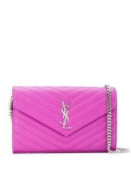 Saint Laurent quilted Monogram envelope shoulder bag - Pink