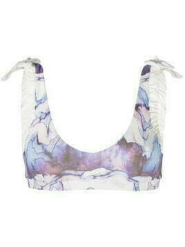 Marysia watercolour print bikini top - Blue