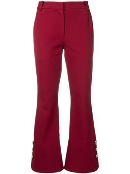 Derek Lam 10 Crosby Cropped Crosby Cotton Twill Flare Trousers with Sailor Buttons - Red