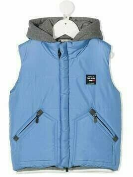 Lapin House hooded logo patch gilet - Blue