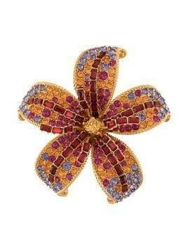 Versace crystal flower brooch - GOLD