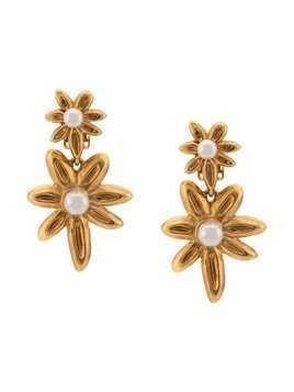 Oscar de la Renta flower button earrings - Gold