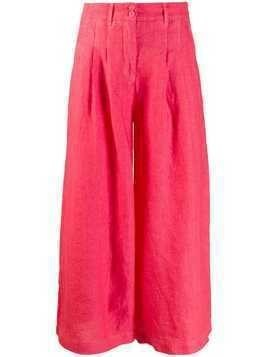 120% Lino wide leg cropped trousers - Red