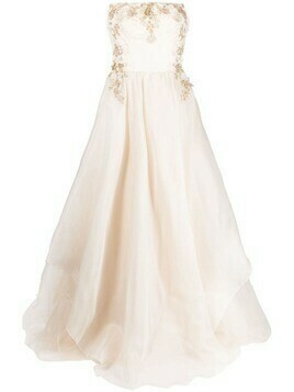 Parlor floral-embroidered silk gown - White