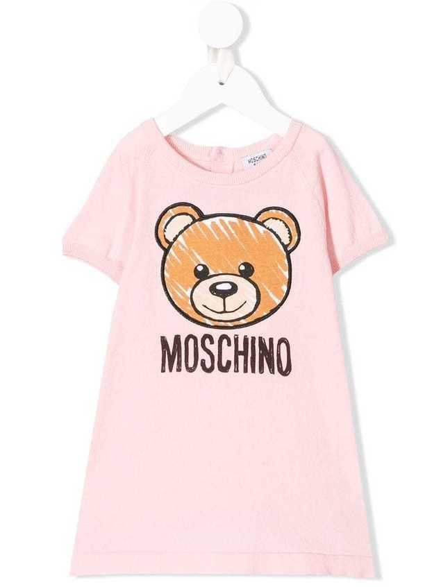 Moschino Kids logo bear print T-shirt dress - Pink