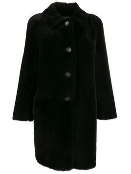 Desa 1972 button down shearling coat - PURPLE