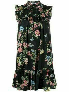Vivetta bib-collar floral-print dress - Black