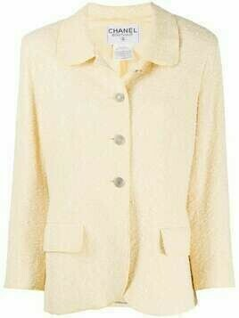 Chanel Pre-Owned woven slim-fit jacket - Yellow