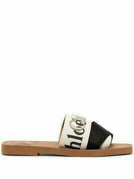 Chloé embroidered-logo sandals - Black