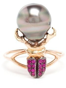 Daniela Villegas ruby and pearl beetle ring - Red