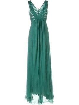 Alberta Ferretti bust lace detailing long dress - Green