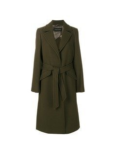 Luisa Cerano tie waist military coat - Green