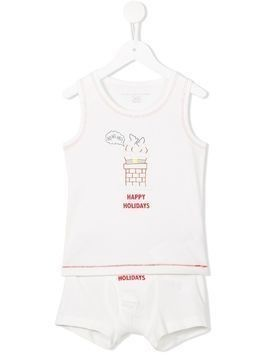 Stella Mccartney Kids Christmas underwear set - White
