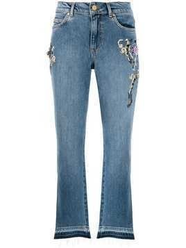 Escada Sport embroidered crop jeans - Blue