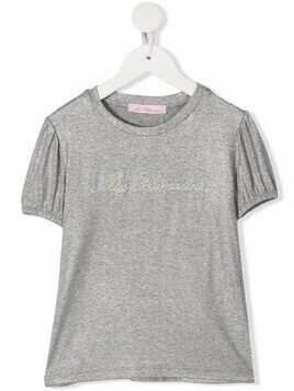 Miss Blumarine embroidered logo short-sleeved T-shirt - Grey