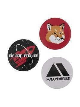 Maison Kitsuné set of three badges - Black
