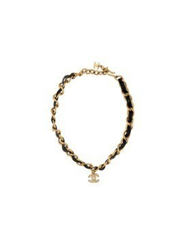 Chanel Vintage embellished logo charm necklace - Metallic