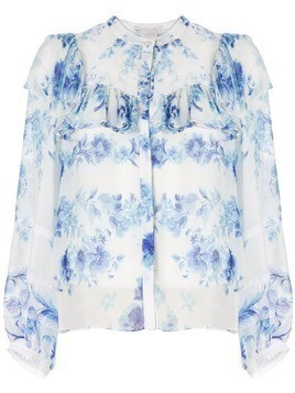 Ingie Paris ruffled floral print blouse - Blue