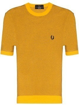 Fred Perry branded knit T-shirt - Yellow