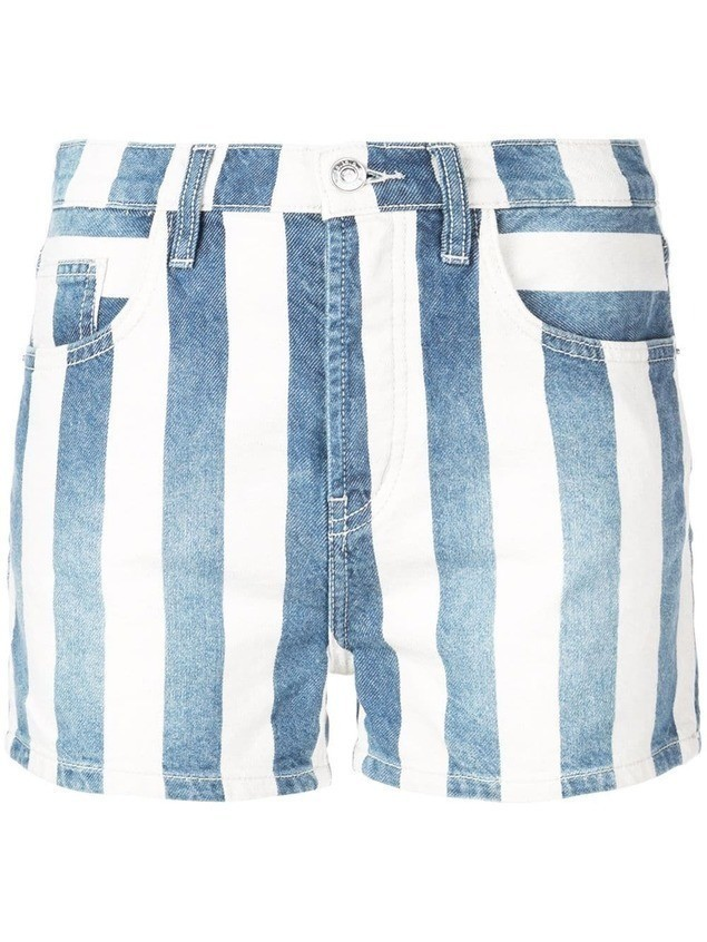 Current/Elliott striped denim shorts - Blue