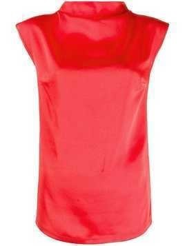 Styland draped neckline top - Red