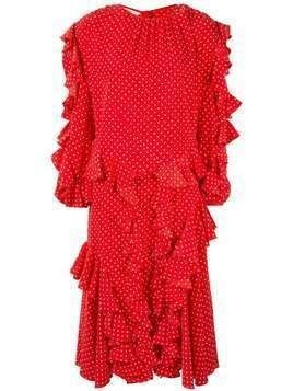 pushBUTTON ruffled polka-dot midi dress - Red