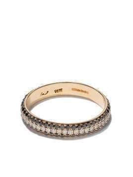 Lizzie Mandler Fine Jewelry 18kt yellow gold three row pave cigar diamond band