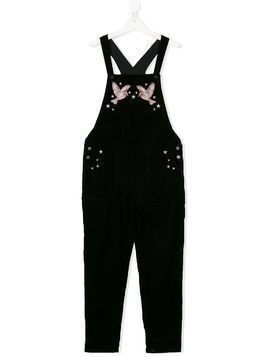 Stella Mccartney Kids TEEN velvet swallow dungarees - Black