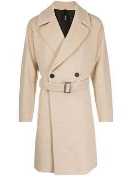 Hevo belted double breasted coat - NEUTRALS