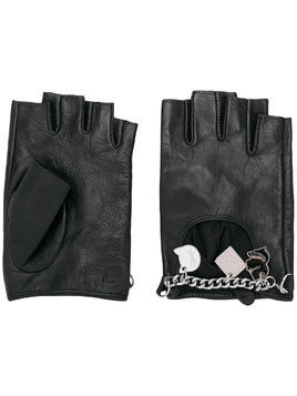 Karl Lagerfeld charm fingerless gloves - Black