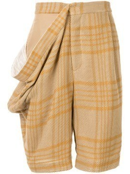 Hed Mayner draped side shorts - Brown